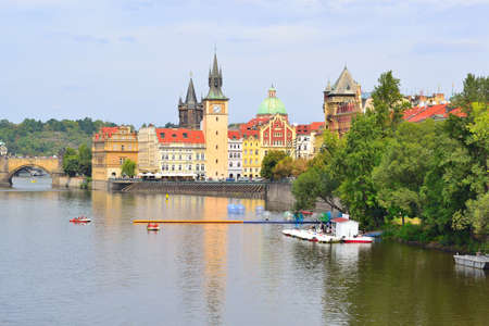 vltava: Czech Republic. Prague Old Town and the Vltava river in a cloudy summer day Editorial