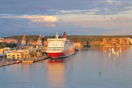 Turku, Finland. The port of Turku in a sunny summer evening