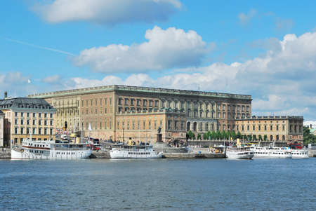 Stockholm, Sweden. Beautiful quay of the Old Town in a sunny summer day