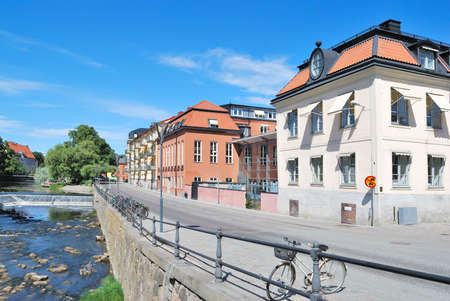 Sweden. Beautiful promenade in the city of Uppsala in a sunny summer day