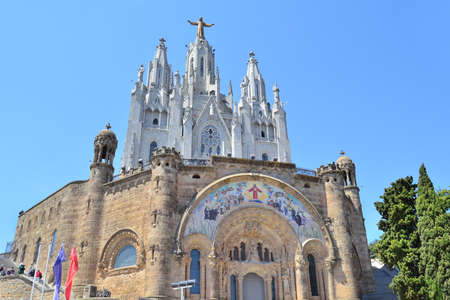 Barcelona, Spain. Temple of the Sacred Heart on Mount Tibidabo Stock Photo
