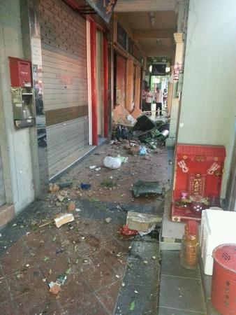 aftermath: Aftermath of Car crashing into walkway  Geylang Singapore