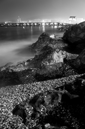 Black and White Nocturnal Beach
