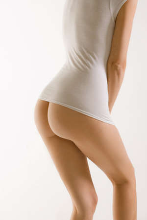 Backside girl bare with white t-shirt Stock Photo - 13231517