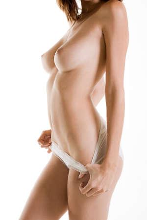 nude side woman in panties Stock Photo