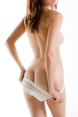 Buttocks and back of naked woman with white panties Stock Photo