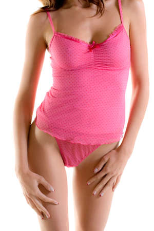 Close up of a pink camisole and thong