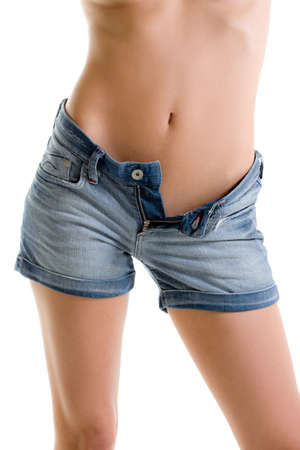 Denim shorts girl unzipped Stock Photo - 14197497