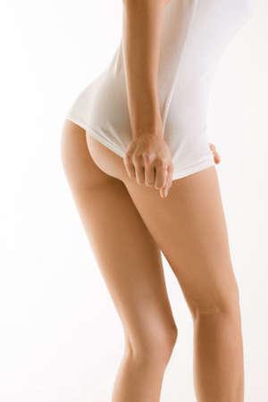 desnuda: Parte trasera de chica con withe camiseta culo al aire