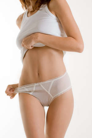 Girl in white underwear on white background photo