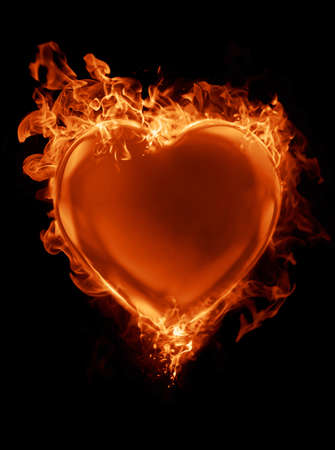 Red heart surrounded by flames