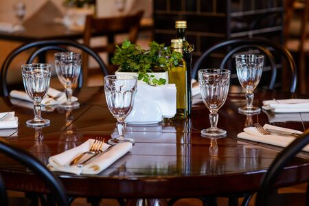 catered: Table set for banquet or another catered event dinner