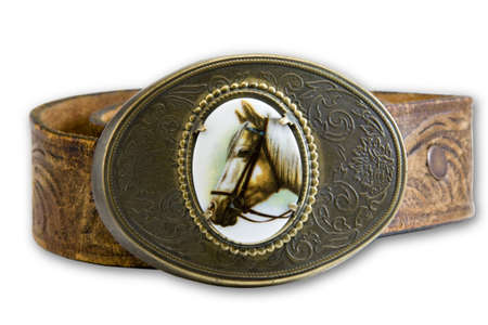leather belt: horse belt buckle on leather belt