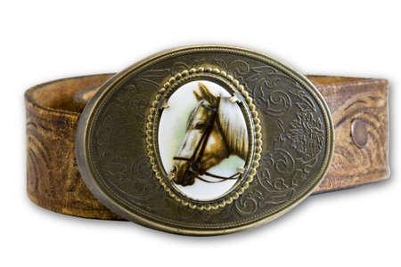 buckle: horse belt buckle on leather belt