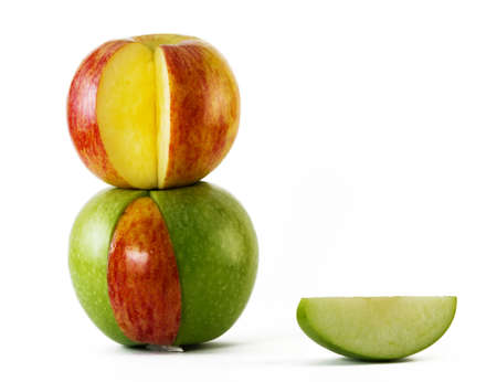 red and green apples standing one on another Stock Photo - 9471701