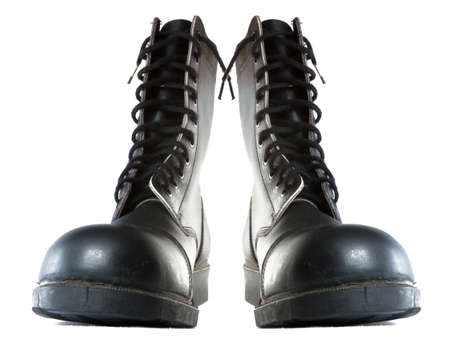 army boots: pare of leather army boots Stock Photo
