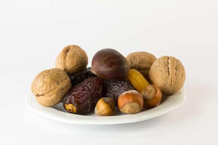 frutos secos: frutos secos - Fecha, ciruelas pasas, albaricoques secos, nueces