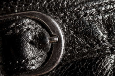 leather texture: Closeup of  a leather texture with metal buckle
