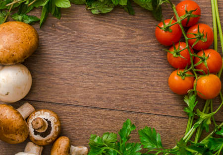 crop: various vegetables in a circle on the floor Stock Photo