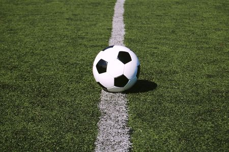 ball on the center of the pitch Stock Photo - 7799698
