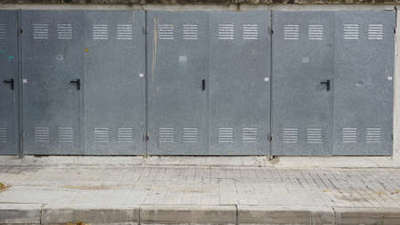 background of industrial metal cabinets