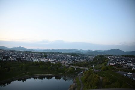the scenery of Hyogo, Mita, Japan in evening
