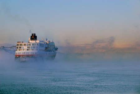 artic: ship sailing in artic waters