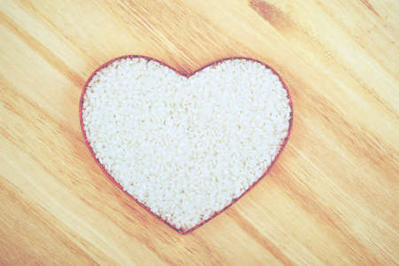 forme: rice with heart shape Banque d'images