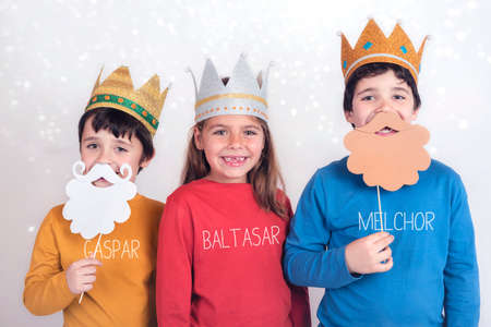 Children disguised as three wise men Stock Photo