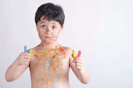 boy with face painting Stock Photo