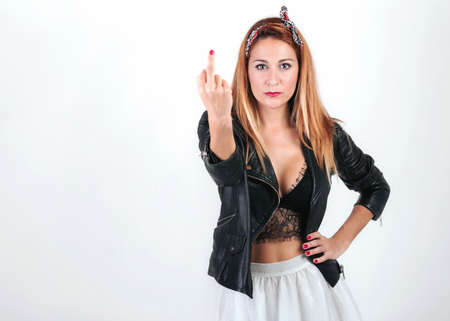Beauty woman showing middle finger, woman rude gesture