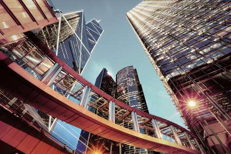 hong kong night: modern office buildings