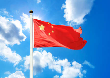 flag pole: China Flag Stock Photo