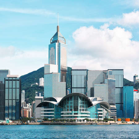 sea port: Hong Kong Convention And Exhibition Center Stock Photo