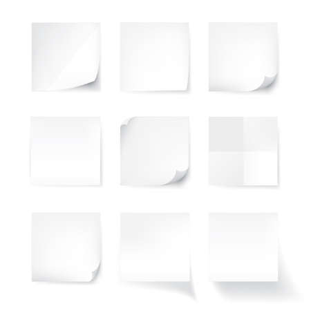 Set of white stick note isolated on white background, vector Illustration