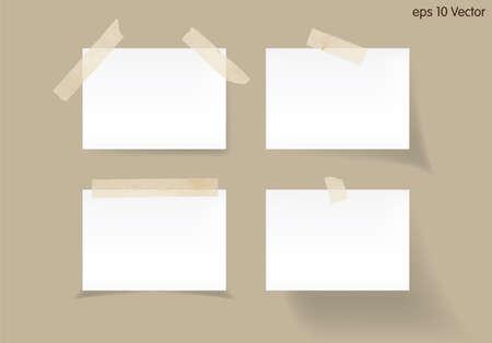 nota de papel: Conjunto de blanco palo nota sobre fondo marrón, vector