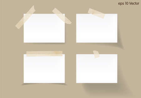 paper notes: Set of white stick note isolated on brown background, vector Illustration