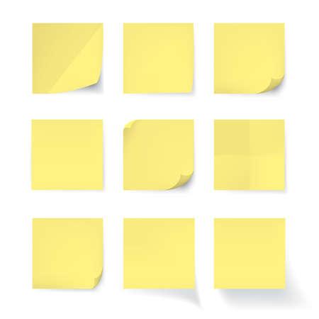 Set gele stok nota geïsoleerd op een witte achtergrond, vector Stock Illustratie