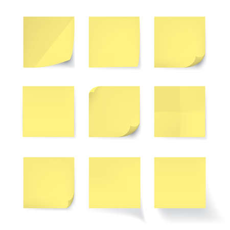 office note: Set of Yellow stick note isolated on white background, vector