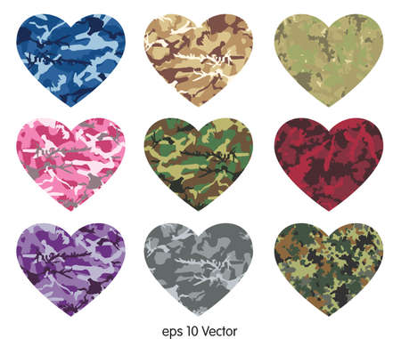 Heart of camouflage Vectores