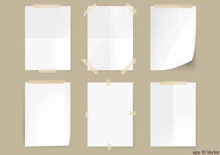 Set of White A4 size paper sheet, Vector