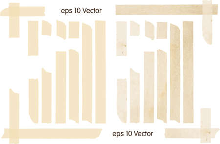 white textured paper: Set of Vector Illustrations of Adhesive Tapes