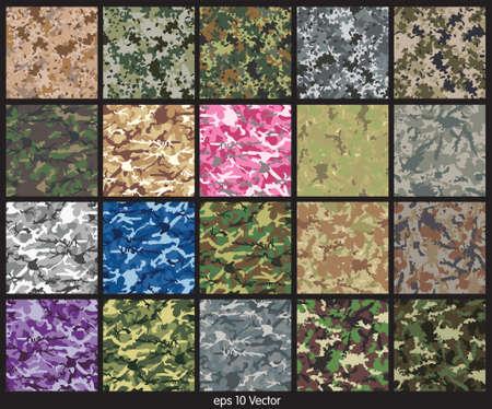 camuflaje: Conjunto inconsútil del camuflaje vector patrón