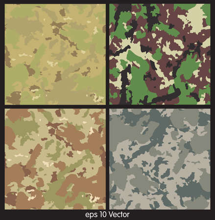 Seamless set of camouflage pattern vector Vector