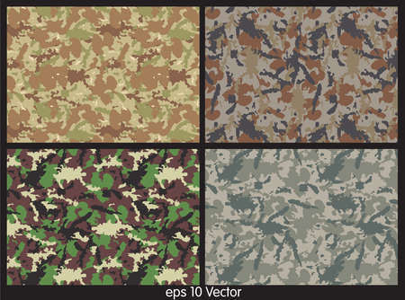 Set of camouflage pattern vector Vector