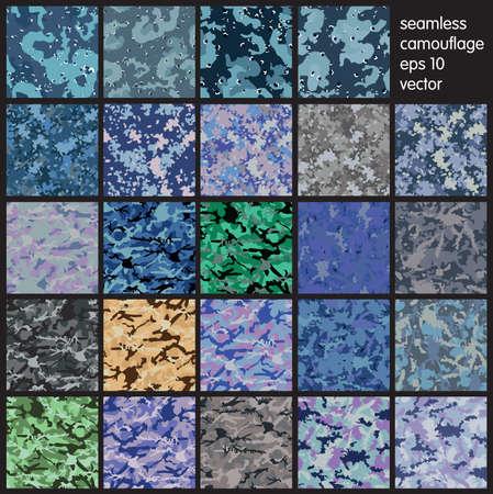 Naadloze set van camouflage patroon vector