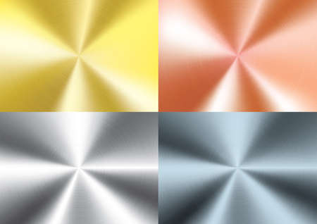 Set of  Brushed metal background, vector Vettoriali