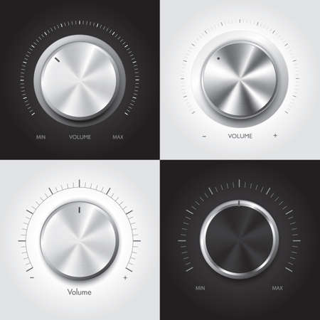 shiny buttons: Vector set of silver buttons