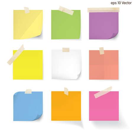 cintas: juego de papel de nota en blanco Vectores