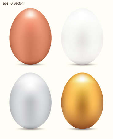 chicken and egg: Metallic eggs set